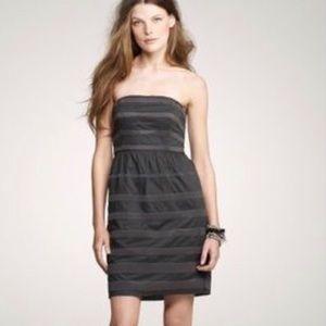 JCREW Gray Rugby Stripe Strapless Dress Sz 2